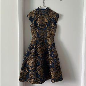 Chi Chi London midi dress in brocade pattern